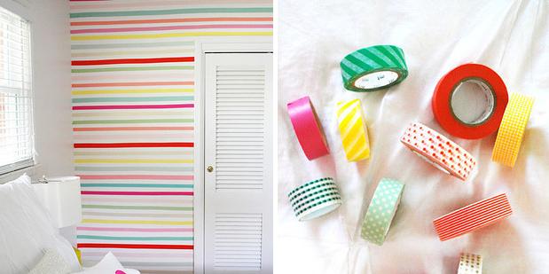 7 formas de decorar las paredes sin perder la fianza - Decorar con washi tape ...